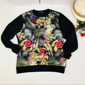 ASOS Floral Print Fleece oversized sweatshirt